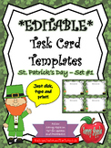 EDITABLE Task Card Templates - St. Patrick's Day - Set 1 - COMMERCIAL USE OK!
