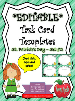 EDITABLE Task Card Templates - St. Patrick's Day - Set 2 - COMMERCIAL USE OK!