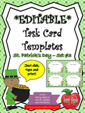 EDITABLE Task Card Templates - St. Patrick's Day - Set 3 - COMMERCIAL USE OK!