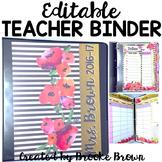 EDITABLE Teacher Binder 2018-2019 {Watercolor Stripes}