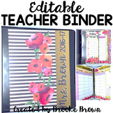 EDITABLE Teacher Binder 2017-2018 {Watercolor Stripes}