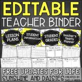 Teacher Planner 2018-2019 EDITABLE Teacher Binder FREE Updates for LIFE!