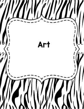 Teacher Binder Covers Zebra Print EDITABLE
