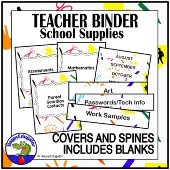 Teacher Binder Covers Back to School EDITABLE