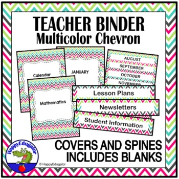 Teacher Binder Covers - Chevron EDITABLE