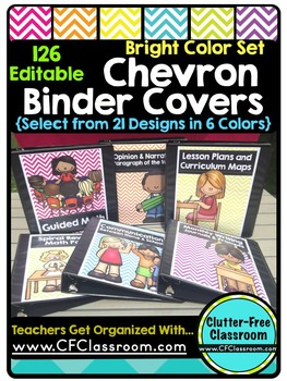 EDITABLE Teacher Binder Covers CHEVRON BRIGHT COLORS Class