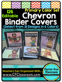 EDITABLE Teacher Binder Covers CHEVRON PRIMARY COLORS Classroom Organization