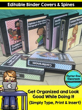 EDITABLE Teacher Binder Covers CHEVRON PRIMARY COLORS Classroom Organization