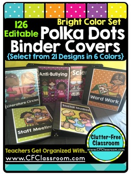 EDITABLE Teacher Binder Covers POLKA DOTS BRIGHT COLORS Classroom Organization