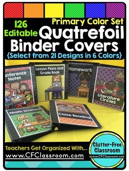 EDITABLE Teacher Binder Covers QUATREFOIL PRIMARY COLORS Classroom Organization