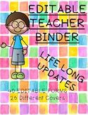 EDITABLE Teacher Binder-FREE UPDATES- Watercolors and Brig