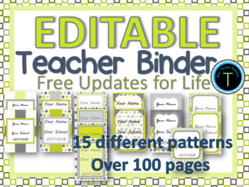 EDITABLE-Teacher Binder Lime green bundle- 15 different patterns- Updated yearly