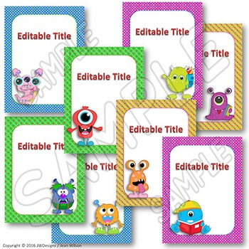 EDITABLE Teacher Binder Monster Themed