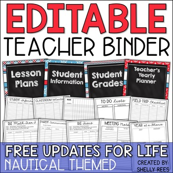 Teacher Binder - Editable Nautical Yearly Planner - Free Updates for Life