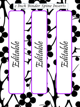 EDITABLE-Teacher Binder,Organizer Bundle Black, White and Bright Purple