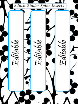 EDITABLE-Teacher Binder,Organizer Bundle Black, White and Bright turquoise