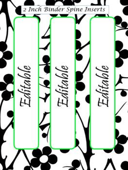 EDITABLE-Teacher Binder,Organizer Bundle Black, White and Neon Green- lime