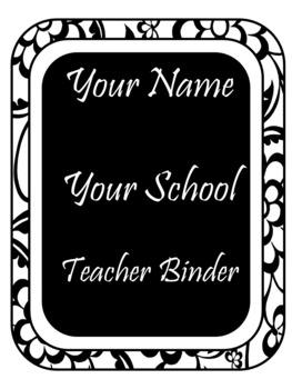 EDITABLE-Teacher Binder,Organizer Bundle Black and White floral