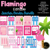 Editable! Updated!-Teacher Binder, Planner Pink Flamingo Tropical Theme