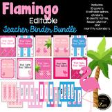 Editable! Updated!-Teacher Binder, Planner Pink Flamingo Tropical Theme
