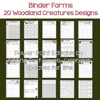 EDITABLE-Teacher Binder,Organizer, Planner Woodland Critters Themed