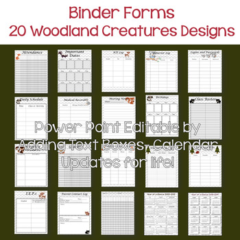 Editable, updated-Teacher Binder,Organizer, Planner Woodland Critters Themed