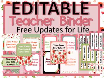 EDITABLE-Teacher Binder,Organizer, Planner beautiful floral Field of Poppy theme