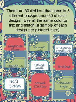 EDITABLE-Teacher Binder,Organizer, Planner boho blue floral theme- flowers