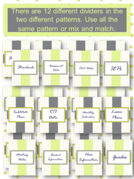EDITABLE-Teacher Binder,Organizer, Planner lime green dots with grey accents