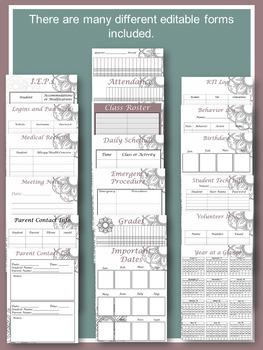 Editable, Updated-Teacher Binder,Organizer, Planner tribal boho mandala patterns