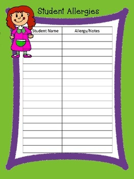 EDITABLE Teacher Binder Pages - Green and Purple Border