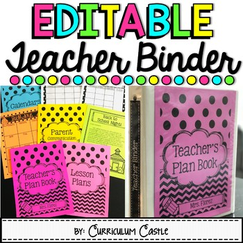 EDITABLE Teacher Binder and Back to School Survival Planner!