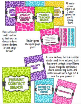 EDITABLE Teacher Binder and Spines for Organization with Substitute Packet