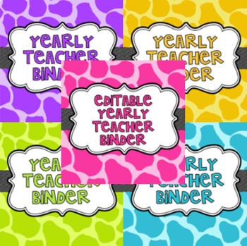EDITABLE Teacher Binder for Organization (Including Substi