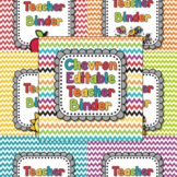 EDITABLE Teacher Binder and Spines in Rainbow Chevron