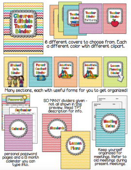 EDITABLE Teacher and Substitute Binder in Rainbow Chevron with Spines