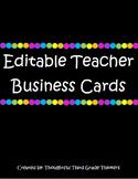 EDITABLE Teacher Business Cards