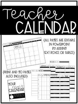 EDITABLE Teacher Calendar {2018-2019}