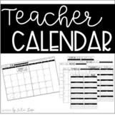 EDITABLE Teacher Calendar {2018-2019}