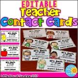 EDITABLE Teacher Contact Cards Back to School