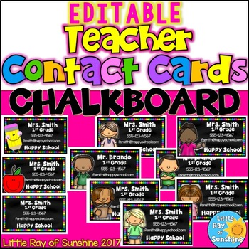 EDITABLE Teacher Contact Cards: CHALKBOARD Version Back to School