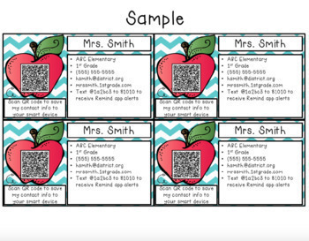 EDITABLE Teacher Contact Cards with QR codes