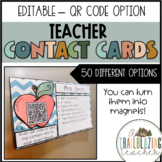EDITABLE Teacher Contact Cards with QR codes
