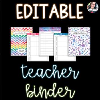 EDITABLE Teacher Data Binder + Lesson Planner