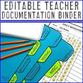 EDITABLE Teacher Documentation Binder | Includes Parent Teacher Conference Forms