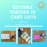 EDITABLE Teacher ID Card Reference Lists