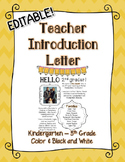 EDITABLE Teacher Introduction Letter