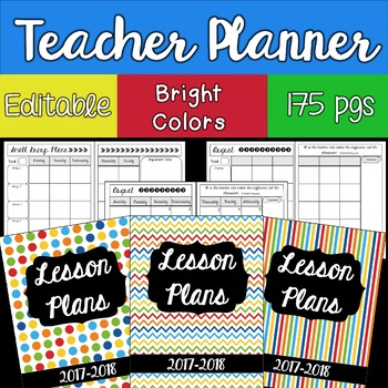 EDITABLE Teacher Lesson Planner Binder: Bright Colors 2017-2018
