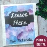 Teacher Lesson Planner Binder Watercolor Theme 2020-2021 (Print & Digital)