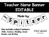EDITABLE Teacher Name Banner